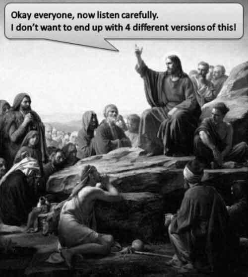four versions of Jesus' message