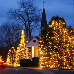 mid-winter church and lights