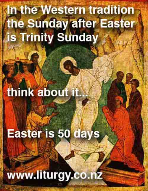 The Sunday after Easter <p> is Trinity Sunday