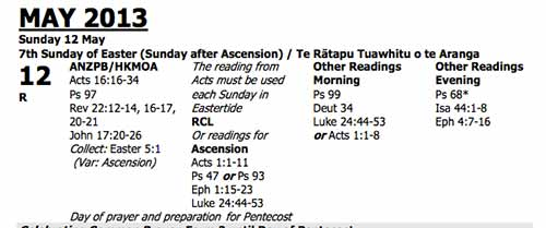 NZ Lectionary 2013