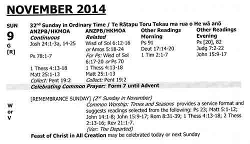 New Zealand Lectionary 2014
