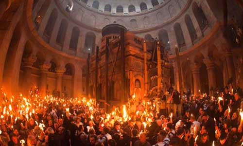 The Church of the Holy Sepulchre during the Orthodox holy fire ceremony.