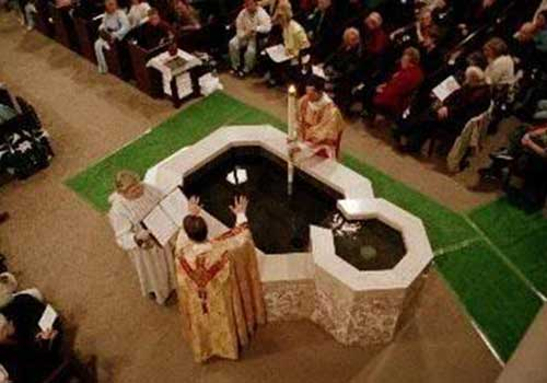 Easter blessing of the baptism font