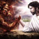 Jesus arm wrestles the devil