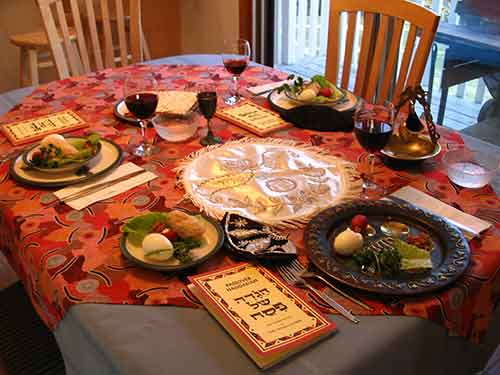 A Seder table-setting