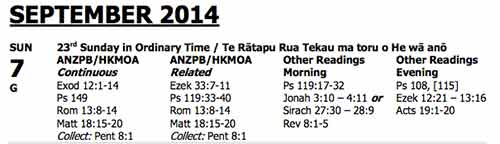 Lectionary 7 September 2014