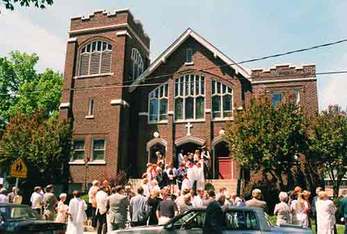 People going into church