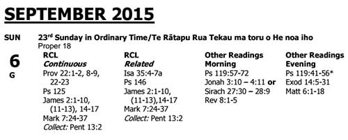 2015 Lectionary