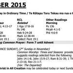 Lectionary 8 November 2015