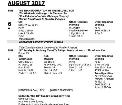 August Lectionary